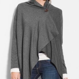 BOBEAU One-Button Fleece Wrap Cardigan Charcoal M